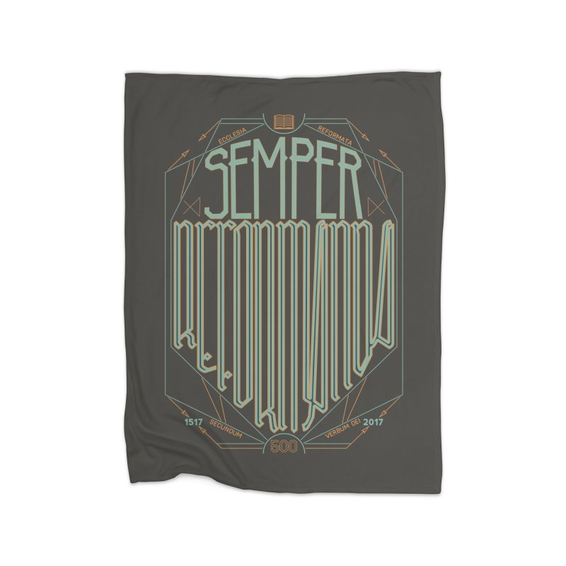 Semper Reformanda: Celebrating the 500th Anniversary of the Protestant Reformation (alt color) Home Fleece Blanket by Reformed Christian Goods & Clothing