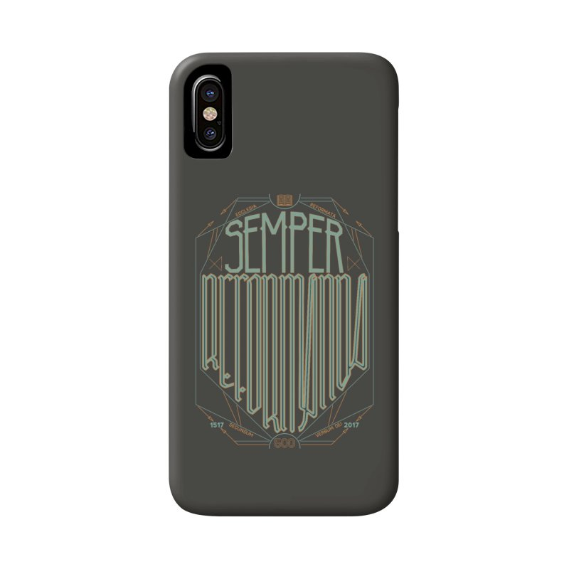 Semper Reformanda: Celebrating the 500th Anniversary of the Protestant Reformation (alt color) Accessories Phone Case by Reformed Christian Goods & Clothing