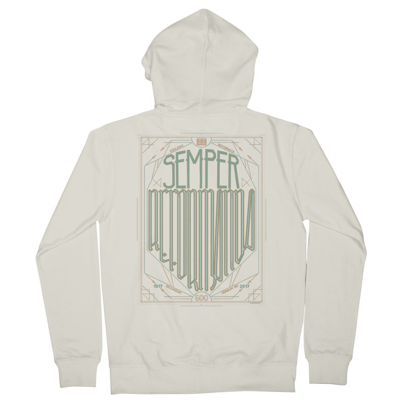 Semper Reformanda: Celebrating the 500th Anniversary of the Protestant Reformation (alt color) Men's Zip-Up Hoody by Reformed Christian Goods & Clothing