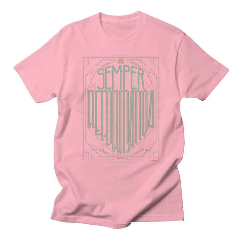 Semper Reformanda: Celebrating the 500th Anniversary of the Protestant Reformation (alt color) Women's Unisex T-Shirt by Reformed Christian Goods & Clothing
