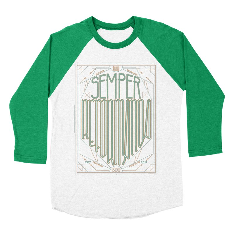 Semper Reformanda: Celebrating the 500th Anniversary of the Protestant Reformation (alt color) Women's Baseball Triblend T-Shirt by Reformed Christian Goods & Clothing