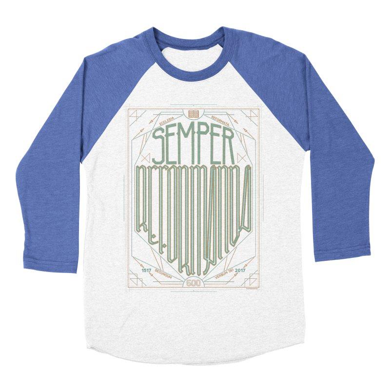 Semper Reformanda: Celebrating the 500th Anniversary of the Protestant Reformation (alt color) Men's Baseball Triblend T-Shirt by Reformed Christian Goods & Clothing