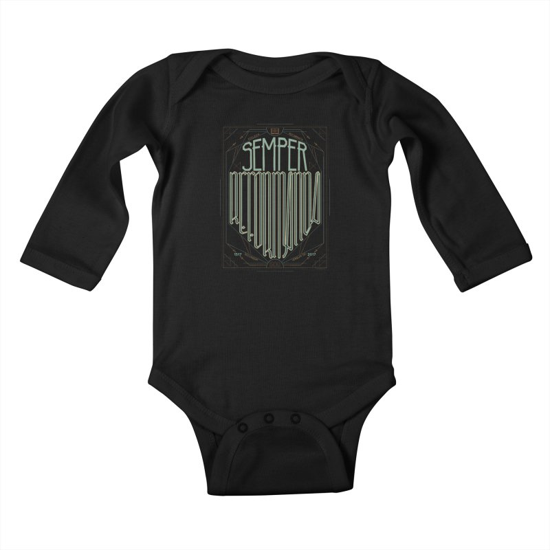 Semper Reformanda: Celebrating the 500th Anniversary of the Protestant Reformation (alt color) Kids Baby Longsleeve Bodysuit by Reformed Christian Goods & Clothing