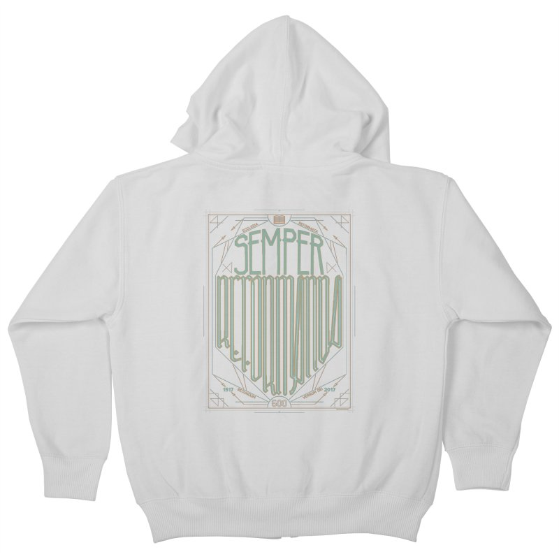 Semper Reformanda: Celebrating the 500th Anniversary of the Protestant Reformation (alt color) Kids Zip-Up Hoody by Reformed Christian Goods & Clothing