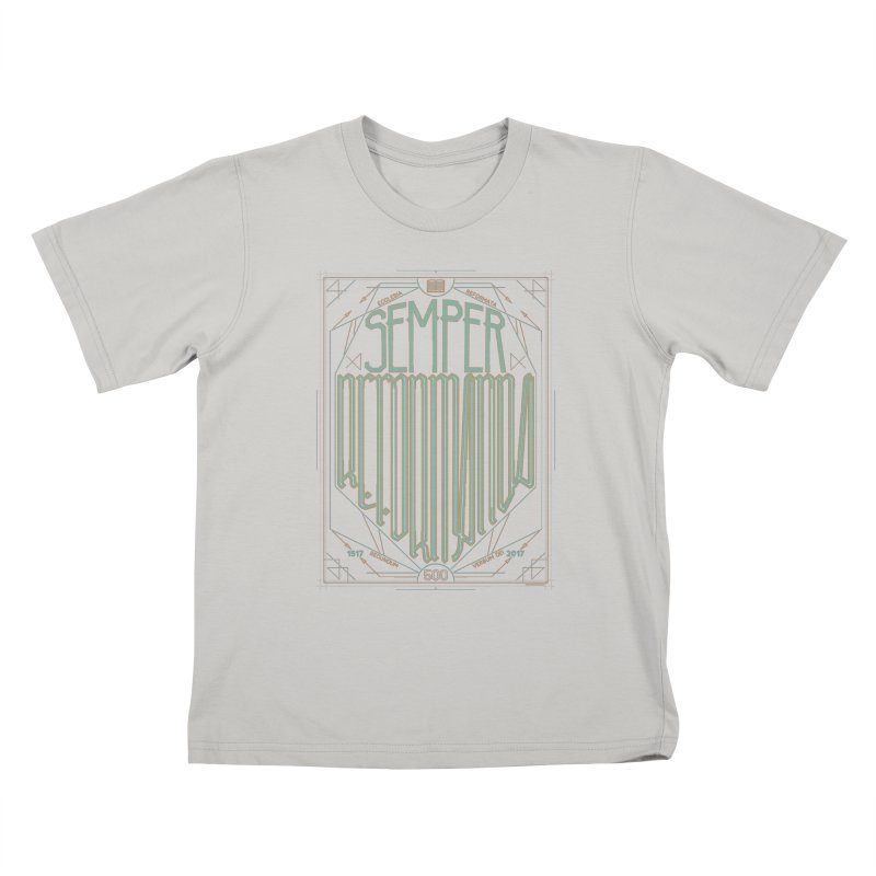 Semper Reformanda: Celebrating the 500th Anniversary of the Protestant Reformation (alt color) Kids T-shirt by Reformed Christian Goods & Clothing