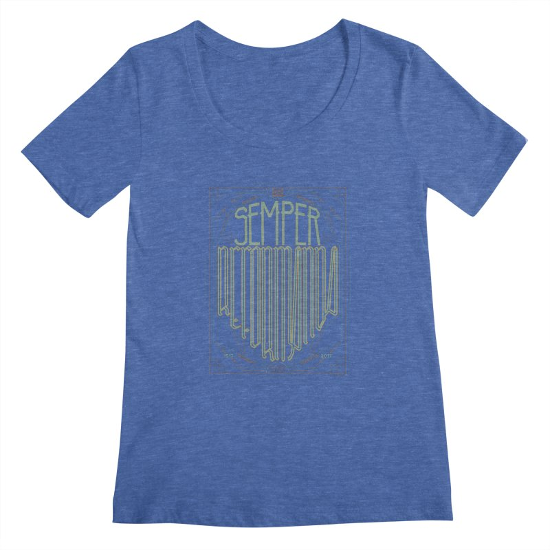 Semper Reformanda: Celebrating the 500th Anniversary of the Protestant Reformation (alt color) Women's Scoopneck by Reformed Christian Goods & Clothing