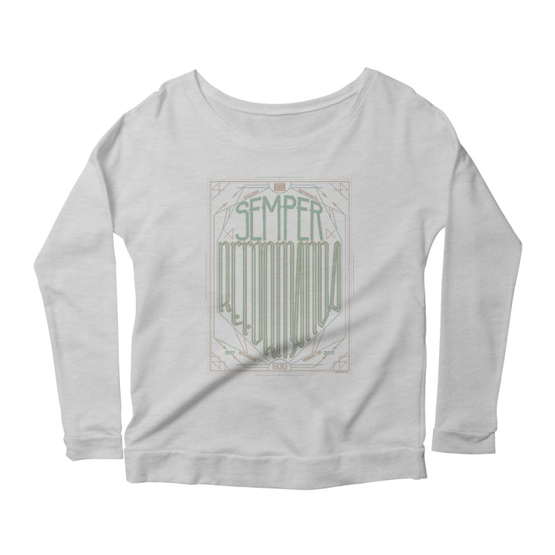 Semper Reformanda: Celebrating the 500th Anniversary of the Protestant Reformation (alt color) Women's Longsleeve Scoopneck  by Reformed Christian Goods & Clothing