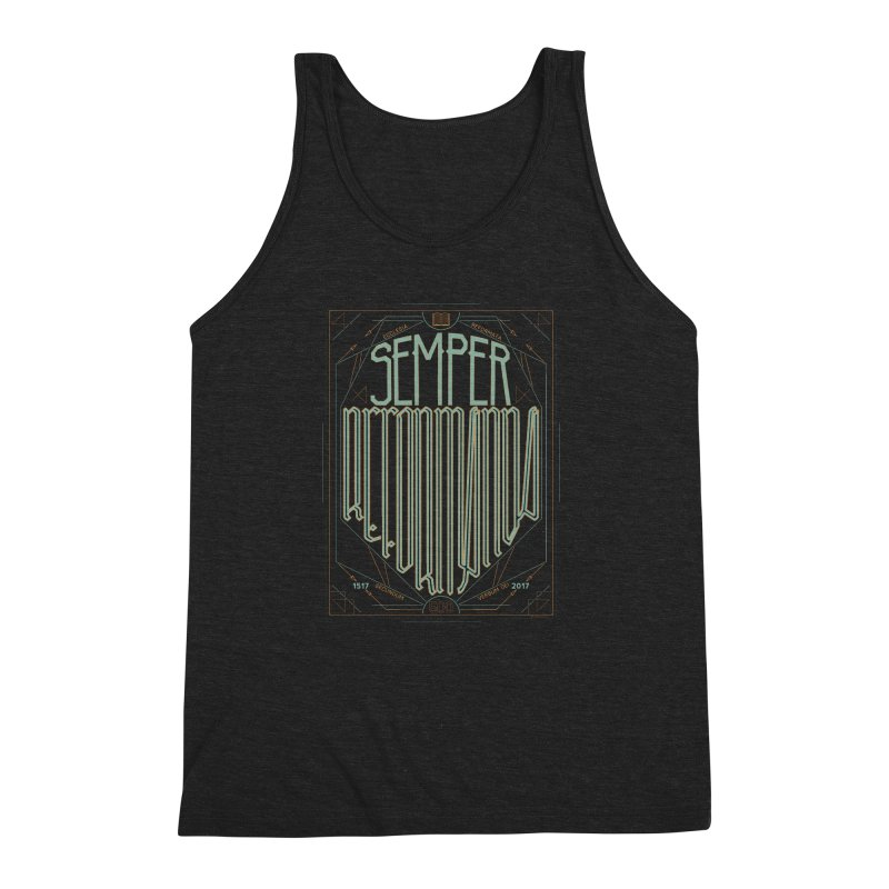 Semper Reformanda: Celebrating the 500th Anniversary of the Protestant Reformation (alt color) Men's Triblend Tank by Reformed Christian Goods & Clothing