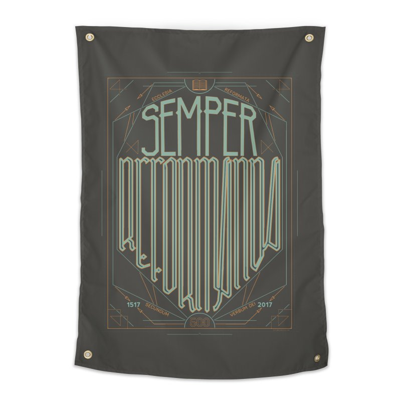 Semper Reformanda: Celebrating the 500th Anniversary of the Protestant Reformation (alt color) Home Tapestry by Reformed Christian Goods & Clothing