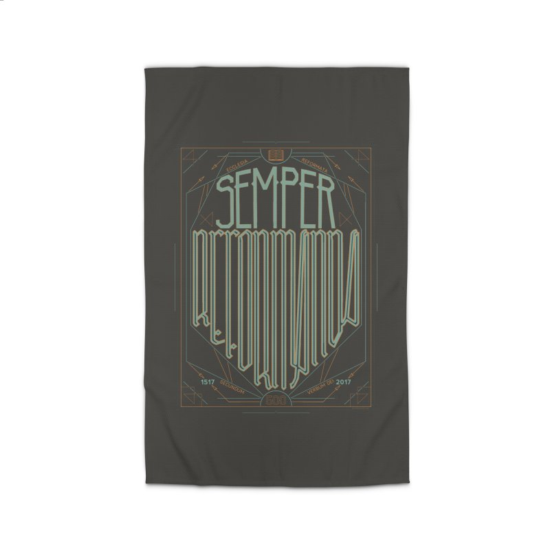 Semper Reformanda: Celebrating the 500th Anniversary of the Protestant Reformation (alt color) Home Rug by Reformed Christian Goods & Clothing