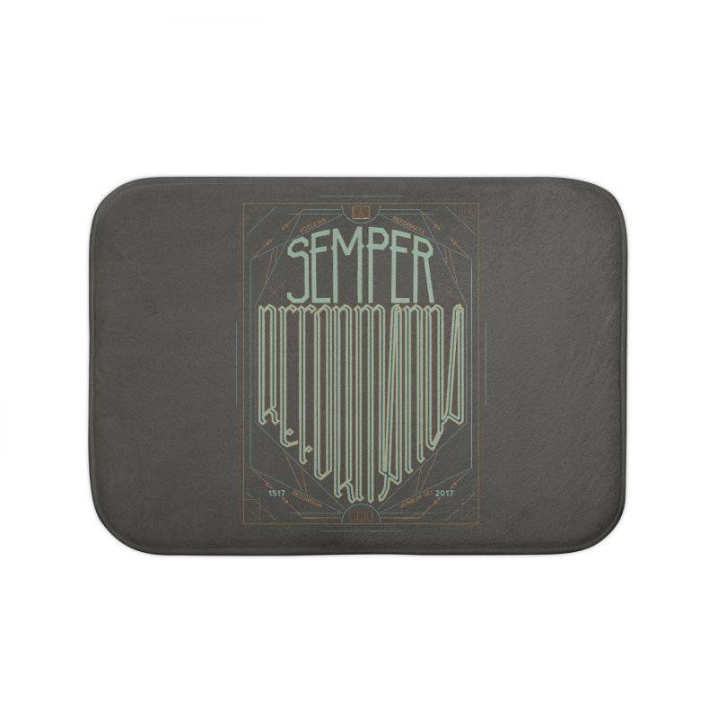 Semper Reformanda: Celebrating the 500th Anniversary of the Protestant Reformation (alt color) Home Bath Mat by Reformed Christian Goods & Clothing