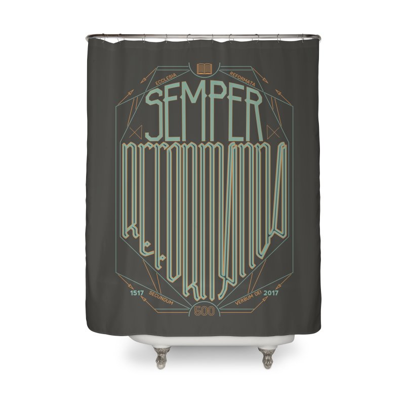 Semper Reformanda: Celebrating the 500th Anniversary of the Protestant Reformation (alt color) Home Shower Curtain by Reformed Christian Goods & Clothing