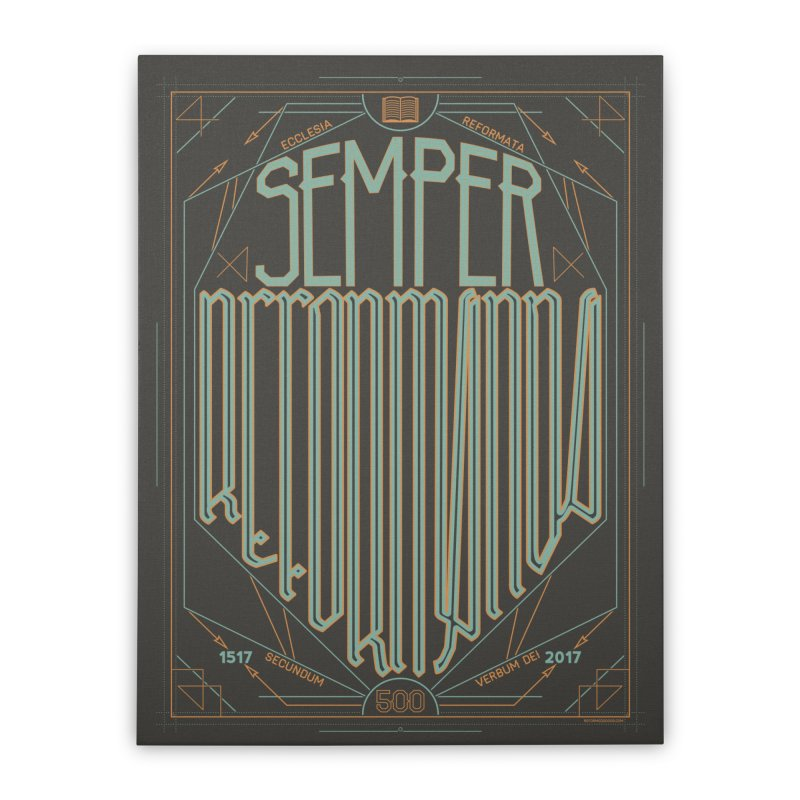 Semper Reformanda: Celebrating the 500th Anniversary of the Protestant Reformation (alt color) Home Stretched Canvas by Reformed Christian Goods & Clothing