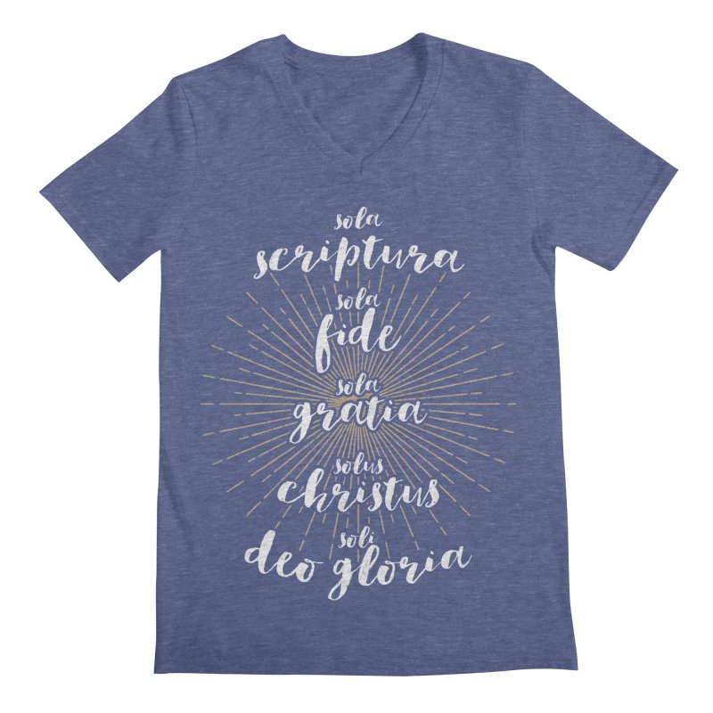 The Five Solas of the Reformation (alternative color) Men's V-Neck by Reformed Christian Goods & Clothing