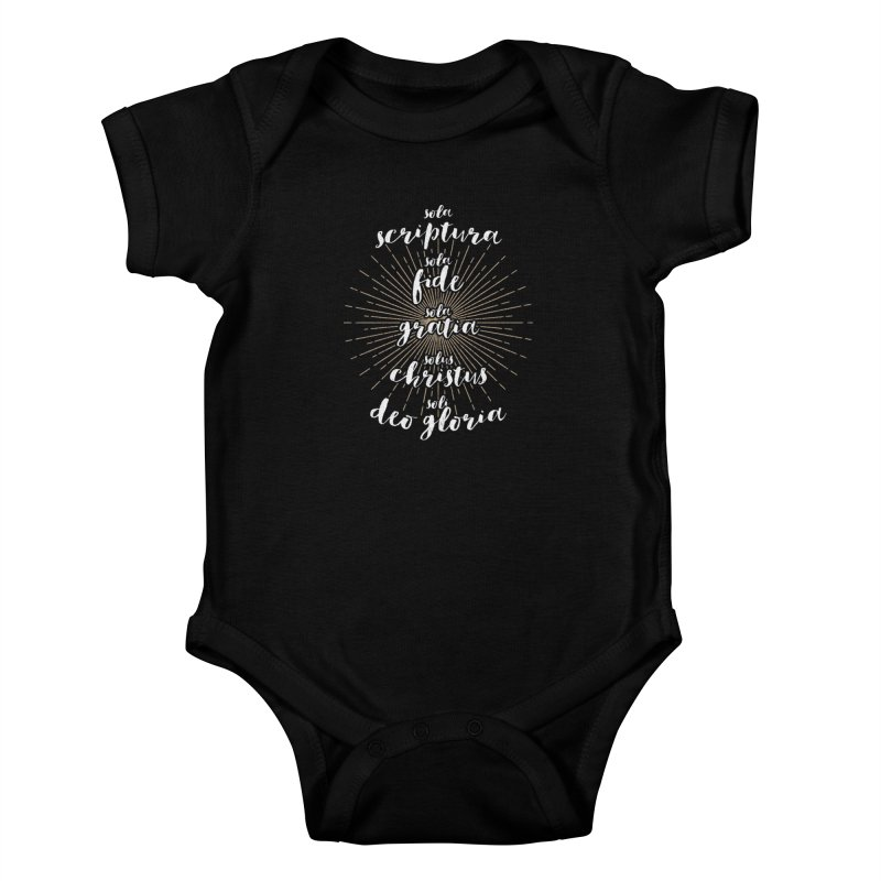The Five Solas of the Reformation (alternative color) Kids Baby Bodysuit by Reformed Christian Goods & Clothing