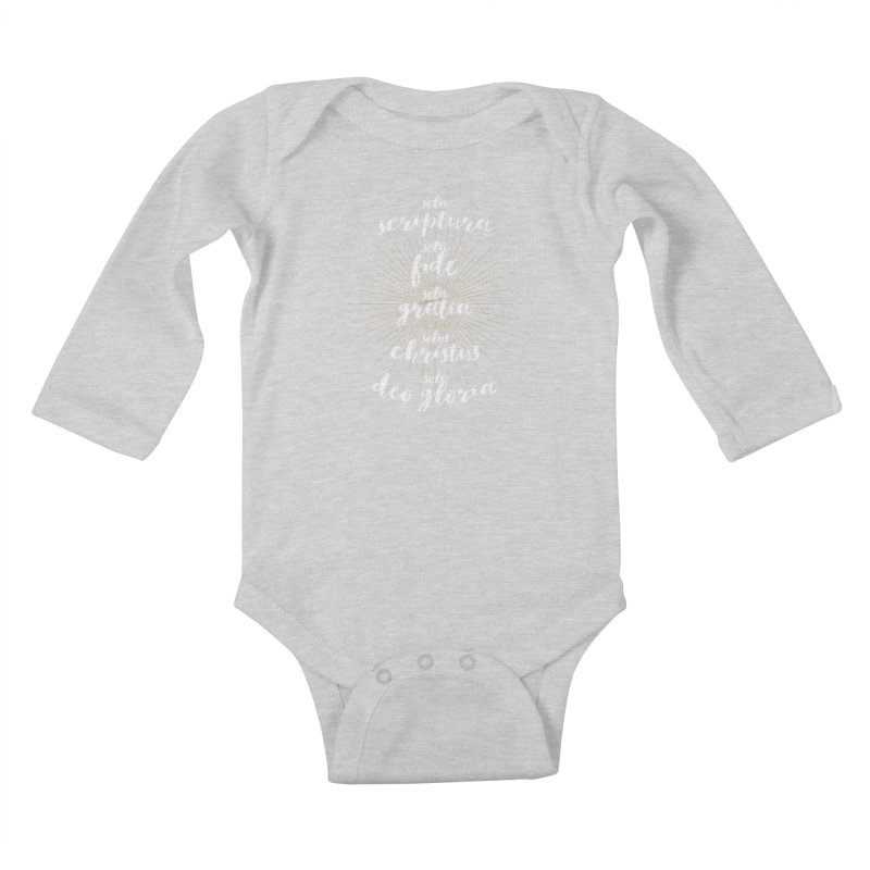 The Five Solas of the Reformation (alternative color) Kids Baby Longsleeve Bodysuit by Reformed Christian Goods & Clothing