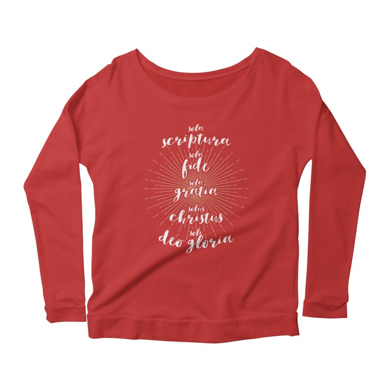 The Five Solas of the Reformation (alternative color) Women's Longsleeve Scoopneck  by Reformed Christian Goods & Clothing