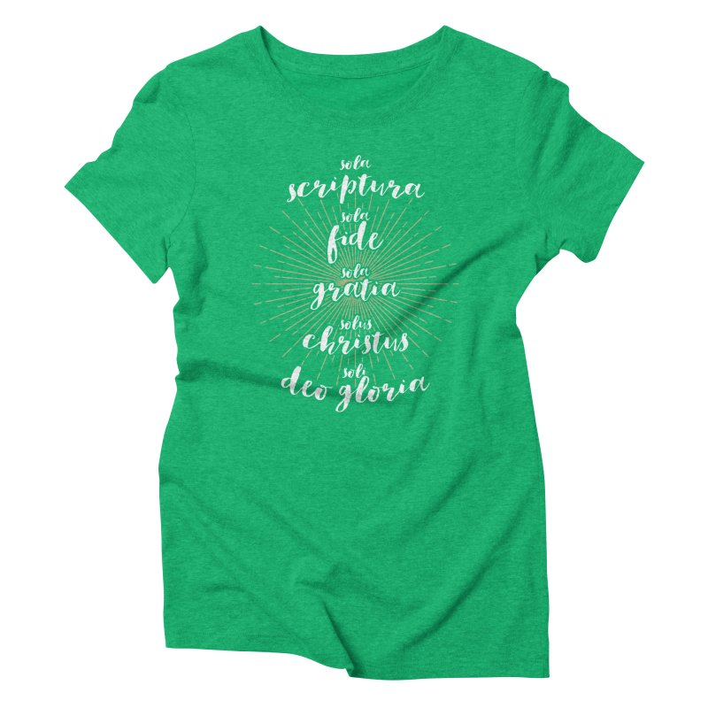 The Five Solas of the Reformation (alternative color) Women's Triblend T-shirt by Reformed Christian Goods & Clothing