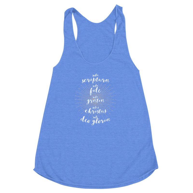 The Five Solas of the Reformation (alternative color) Women's Racerback Triblend Tank by Reformed Christian Goods & Clothing