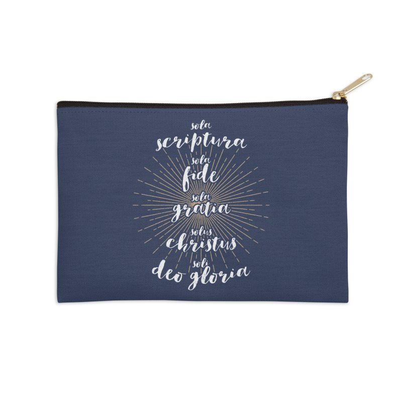 The Five Solas of the Reformation (alternative color) Accessories Zip Pouch by Reformed Christian Goods & Clothing