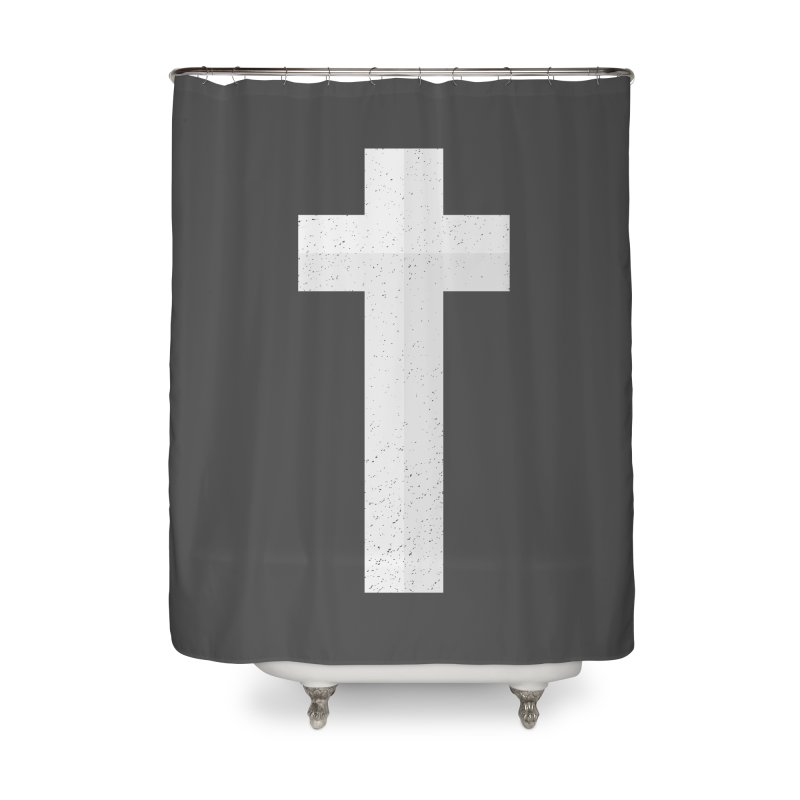 The Cross (white) Home Shower Curtain by Reformed Christian Goods & Clothing