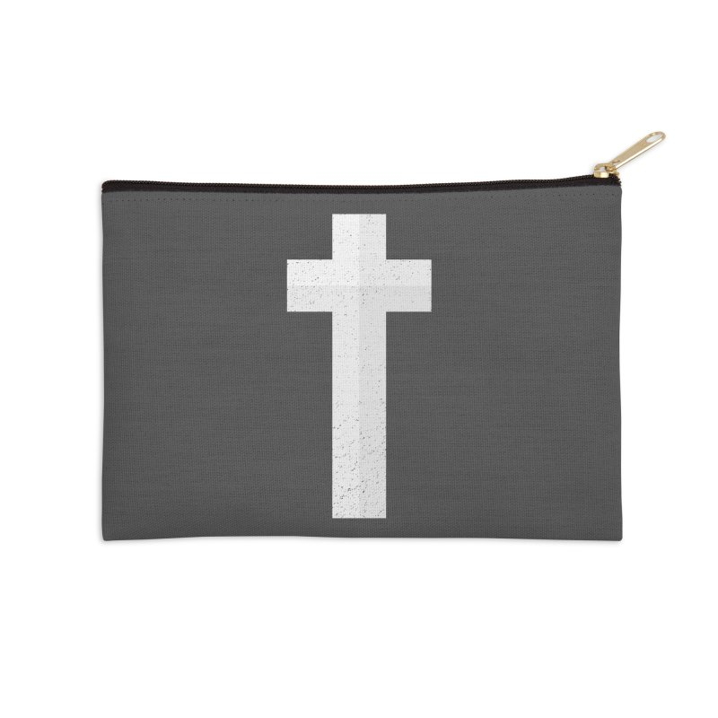 The Cross (white) Accessories Zip Pouch by Reformed Christian Goods & Clothing