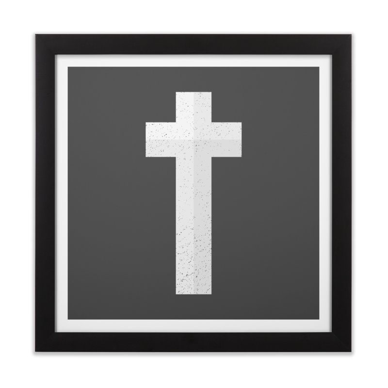 The Cross (white) Home Framed Fine Art Print by Reformed Christian Goods & Clothing