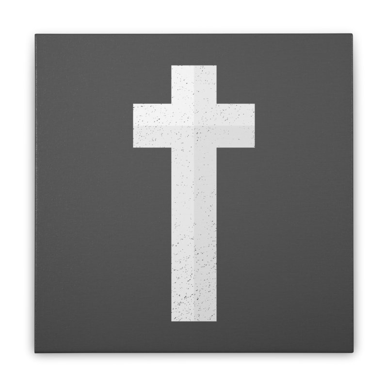 The Cross (white) Home Stretched Canvas by Reformed Christian Goods & Clothing