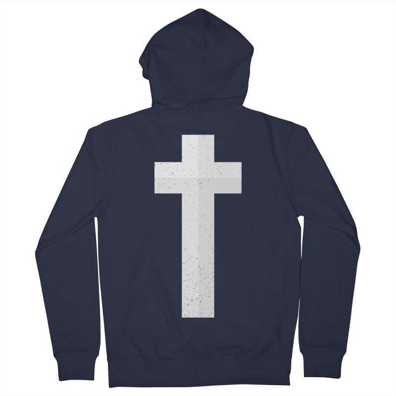 The Cross (white) Men's Zip-Up Hoody by Reformed Christian Goods & Clothing