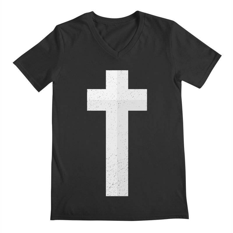 The Cross (white) Men's V-Neck by Reformed Christian Goods & Clothing