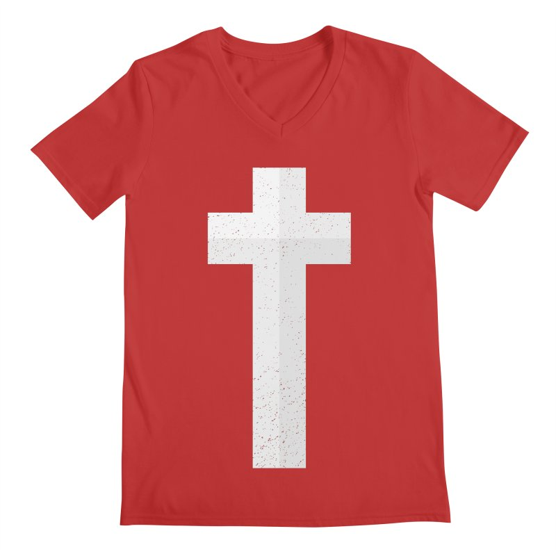 The Cross (white) Men's V-Neck by Reformed Christian Goods & Clothing