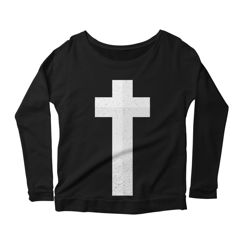 The Cross (white) Women's Longsleeve Scoopneck  by Reformed Christian Goods & Clothing