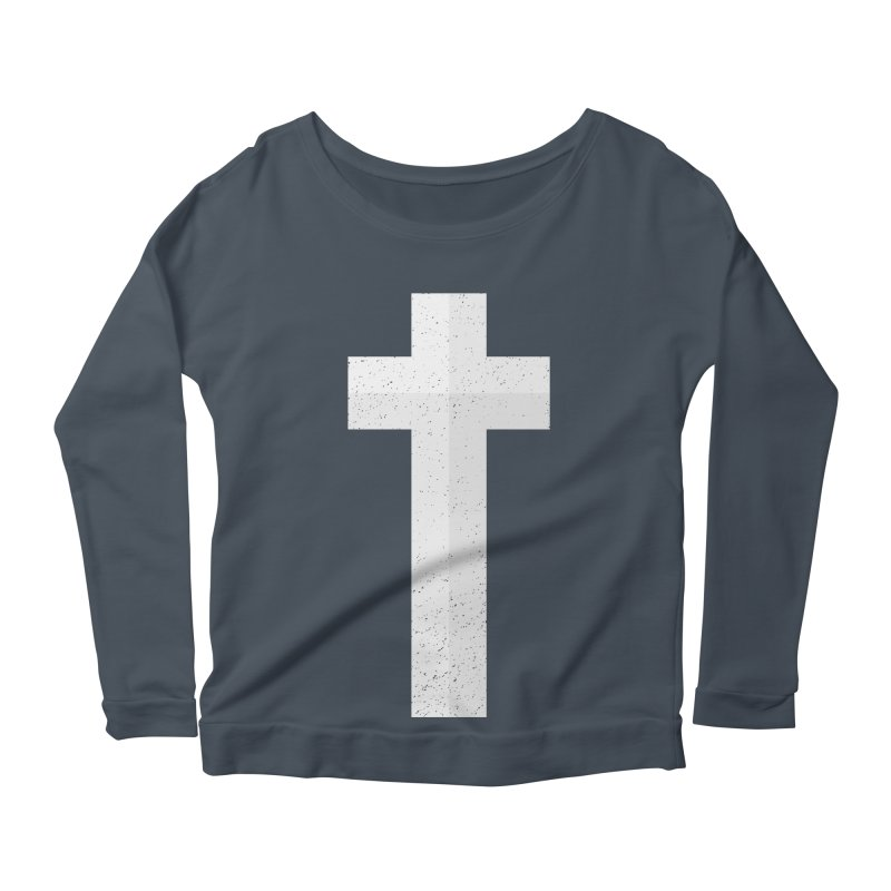 The Cross (white) Women's Scoop Neck Longsleeve T-Shirt by A Worthy Manner Goods & Clothing