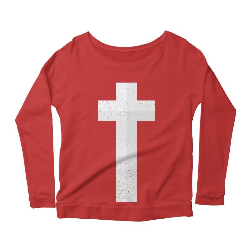The Cross (white) Women's Longsleeve Scoopneck  by Reformed Christian Goods & Clothing