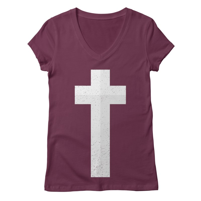 The Cross (white) Women's V-Neck by Reformed Christian Goods & Clothing