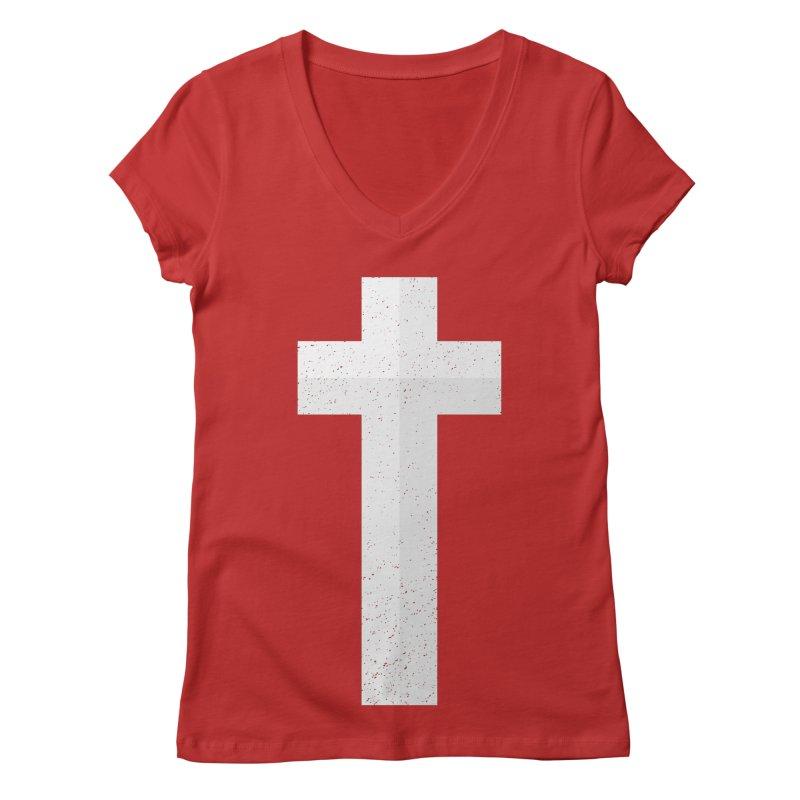 The Cross (white) Women's V-Neck by Reformed Christian Goods & Clothing