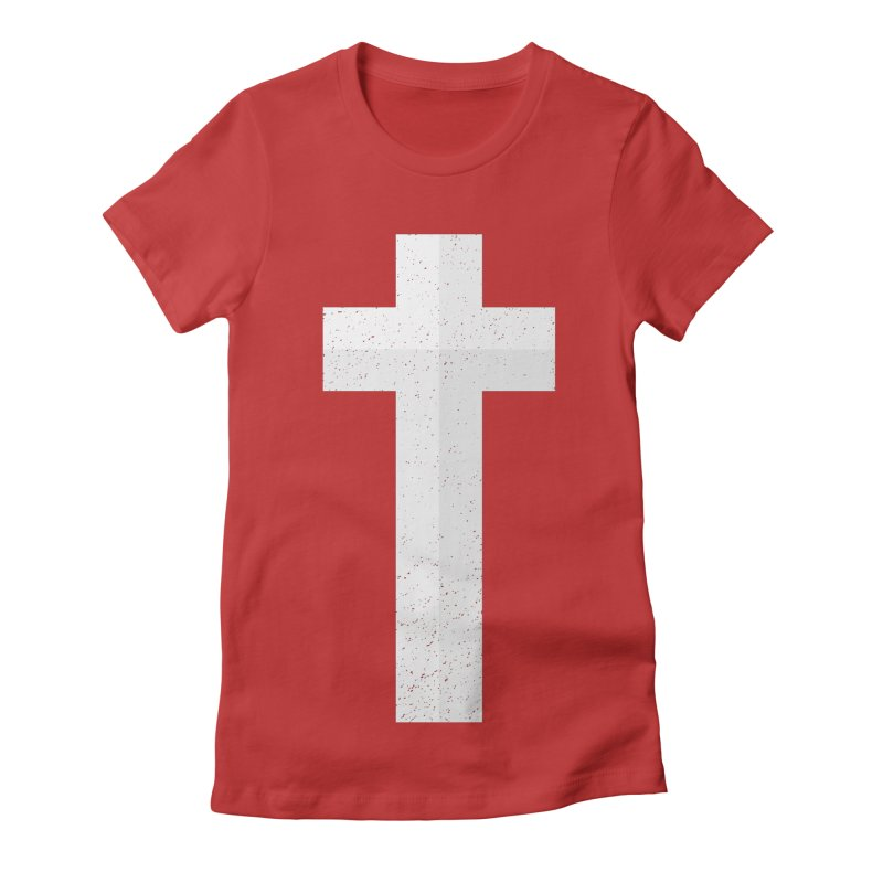 The Cross (white) Women's Fitted T-Shirt by Reformed Christian Goods & Clothing