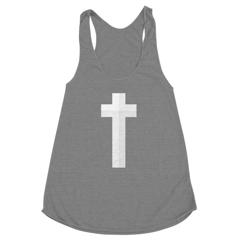 The Cross (white) Women's Racerback Triblend Tank by Reformed Christian Goods & Clothing