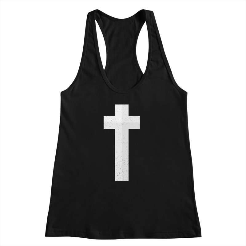 The Cross (white) Women's Racerback Tank by Reformed Christian Goods & Clothing