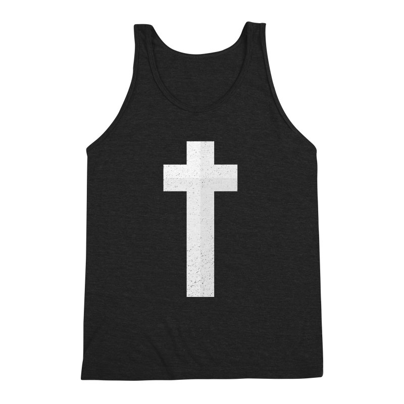 The Cross (white) Men's Triblend Tank by Reformed Christian Goods & Clothing
