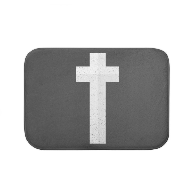 The Cross (white) Home Bath Mat by Reformed Christian Goods & Clothing