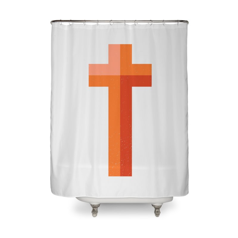 The Cross (red) Home Shower Curtain by Reformed Christian Goods & Clothing