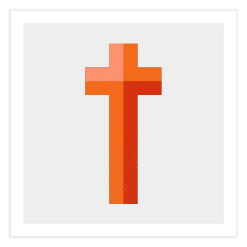 The Cross (red) Home Fine Art Print by Reformed Christian Goods & Clothing