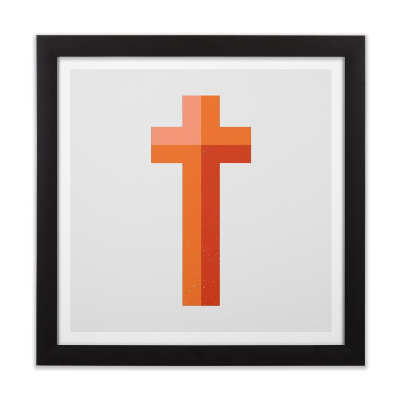 The Cross (red) Home Framed Fine Art Print by Reformed Christian Goods & Clothing
