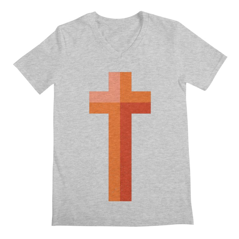 The Cross (red) Men's V-Neck by Reformed Christian Goods & Clothing
