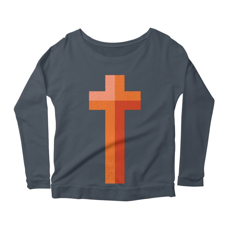 The Cross (red) Women's Scoop Neck Longsleeve T-Shirt by A Worthy Manner Goods & Clothing
