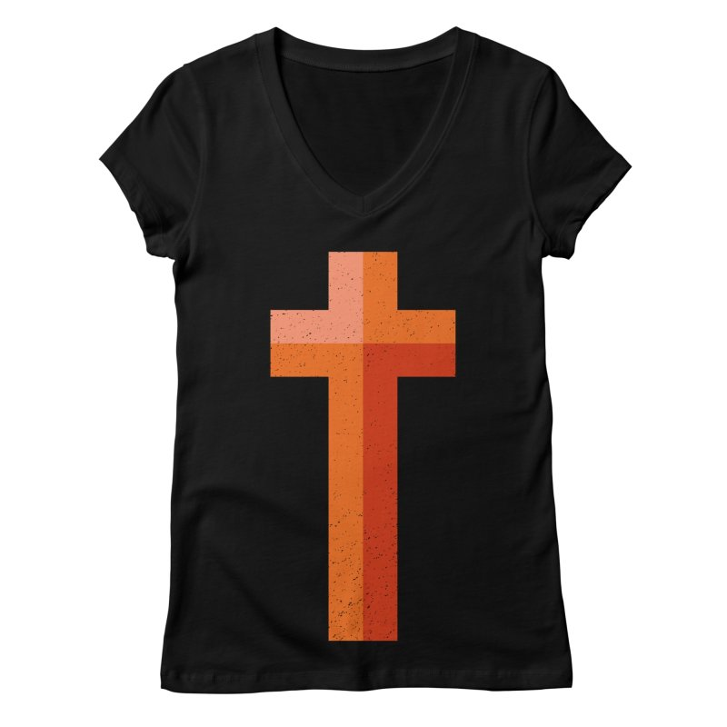 The Cross (red) Women's V-Neck by Reformed Christian Goods & Clothing