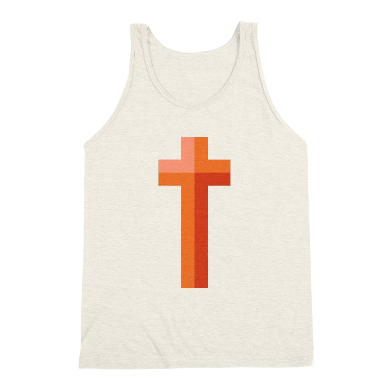 The Cross (red) Men's Triblend Tank by Reformed Christian Goods & Clothing