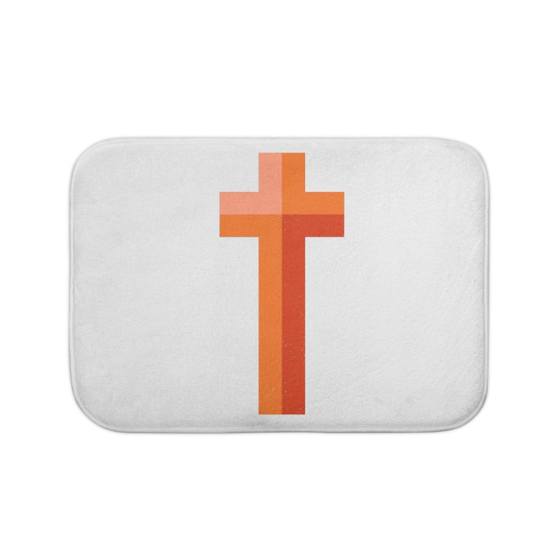 The Cross (red) Home Bath Mat by Reformed Christian Goods & Clothing