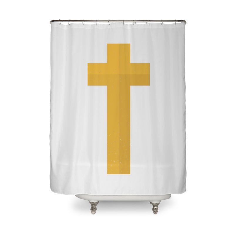 The Cross (gold) Home Shower Curtain by Reformed Christian Goods & Clothing